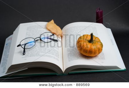 Open Business Book With Glasses