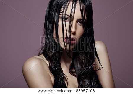 Beauty Woman With Wet Hair And Ideal Skin