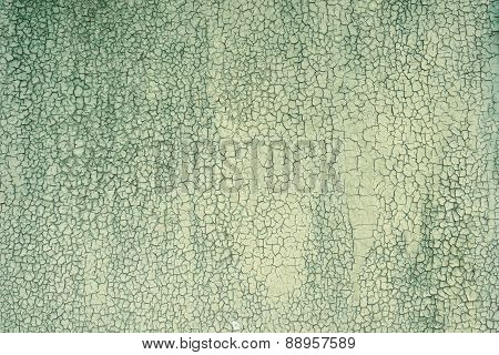 Obsolete Weathered Cracked Green Painted Wood Background