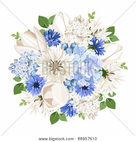 Bouquet of white and blue flowers. Vector illustration.
