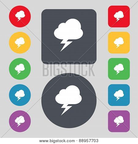 Storm Icon Sign. A Set Of 12 Colored Buttons. Flat Design. Vector