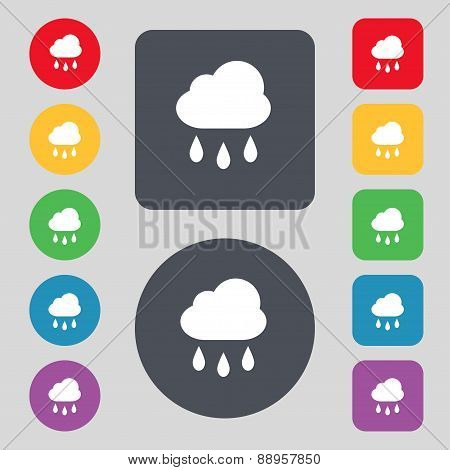 Weather Rain Icon Sign. A Set Of 12 Colored Buttons. Flat Design. Vector