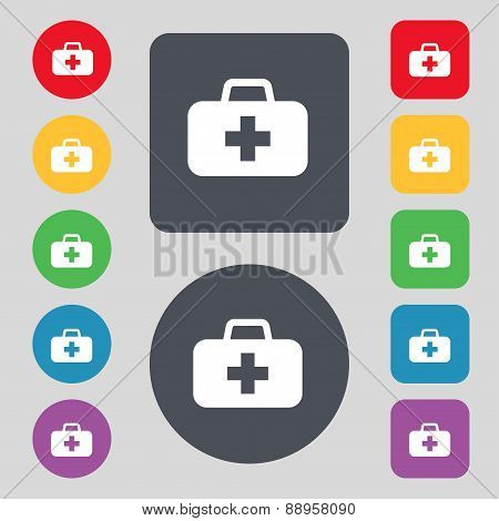 Medicine Chest Icon Sign. A Set Of 12 Colored Buttons. Flat Design. Vector