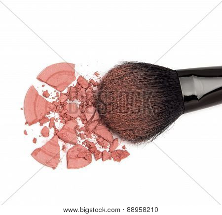 Crumbled Powder Blush Pink Color With Makeup Brush