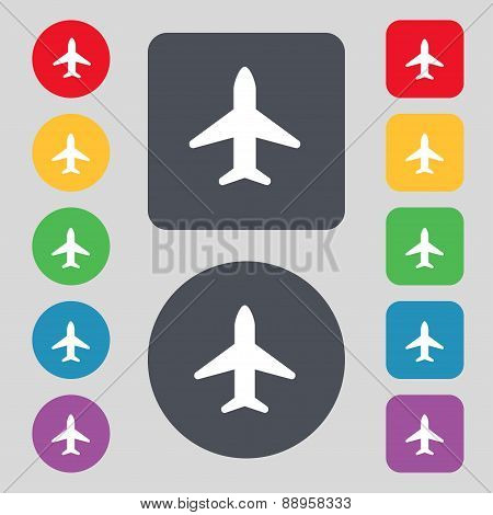 Airplane, Plane, Travel, Flight Icon Sign. A Set Of 12 Colored Buttons. Flat Design. Vector