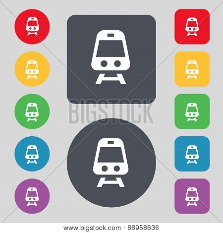 Train Icon Sign. A Set Of 12 Colored Buttons. Flat Design. Vector