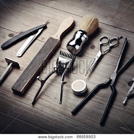 Vintage Tools Of A Barber On Wood Desk
