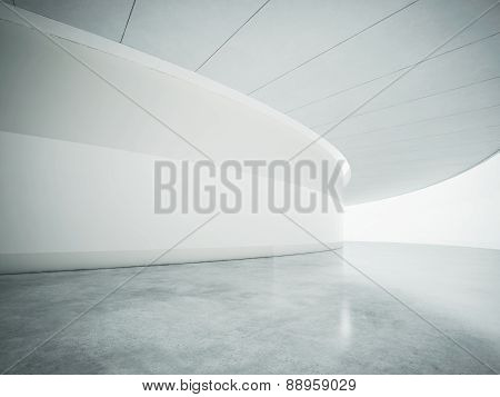 White Open Space Contemporary Interior. 3D Render