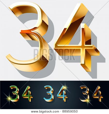 Vector set of elegant gold jewelry font. Numbers 3 4