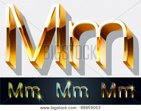 Vector set of elegant gold jewelry font. Letter M