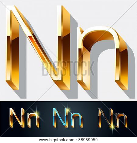 Vector set of elegant gold jewelry font. Letter N