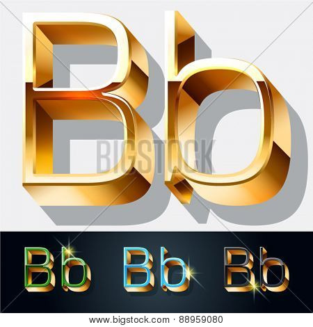 Vector set of elegant gold jewelry font. Letter B