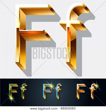 Vector set of elegant gold jewelry font. Letter F
