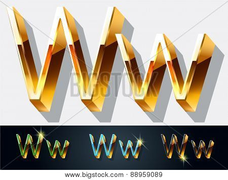 Vector set of elegant gold jewelry font. Letter W