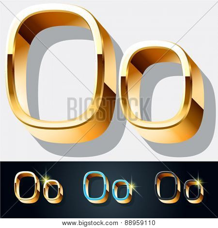 Vector set of elegant gold jewelry font. Letter O