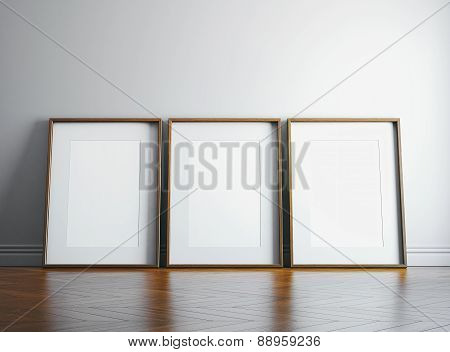 Three Blank Picture Frame And Sunlight On A Wall. 3D Render