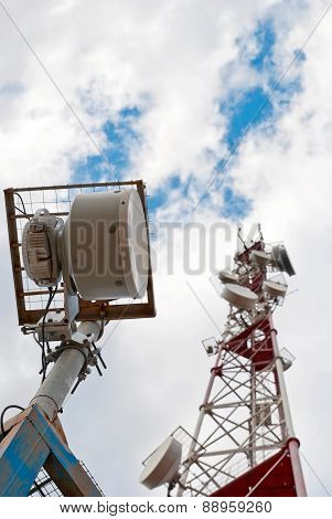 Antenna Cellular Base Station Against The Blue Sky