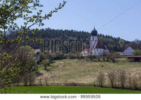 Church Of Wiefelsdorf In Spring