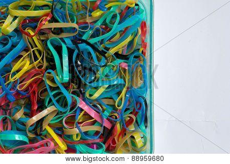 The Plastics, Rubber, Red, Black, Blue, White.isolation