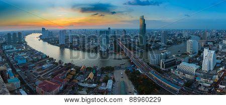 Panorama of Bangkok river curve during sunset, Thailand