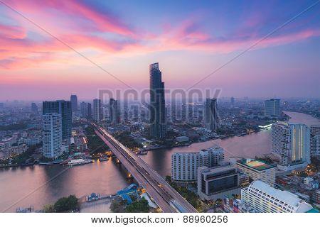 Beautiful cloud background,  Modern Business Building