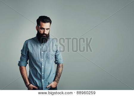 Bearded Man On Light Blue Background