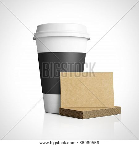 Template Of Business Cards Near The White Paper Cup. 3D Rendering