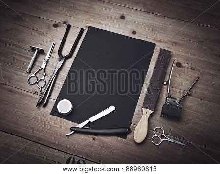 Vintage Barber Equipment And Black Page