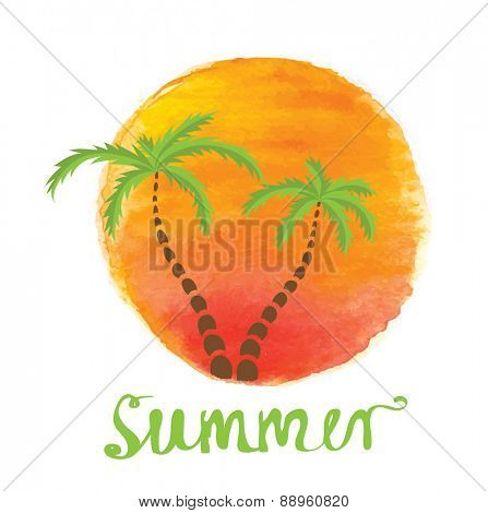 Palm trees against the watercolor sun. Vector logo illustration.