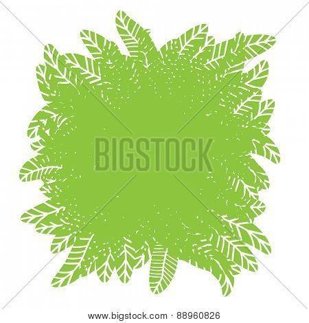 Green plant design element with place for text, vector illustration.