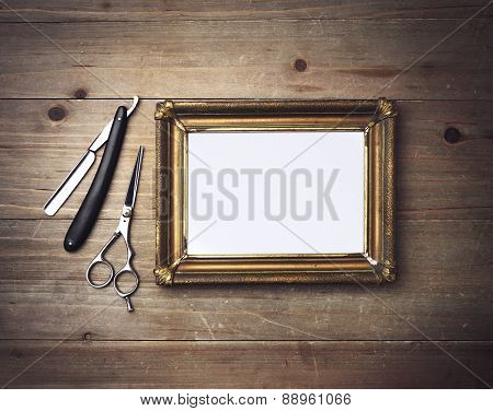 Picture Frame And Vintage Barber Tools