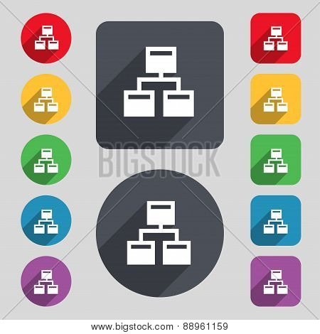 Local Network Icon Sign. A Set Of 12 Colored Buttons And A Long Shadow. Flat Design. Vector