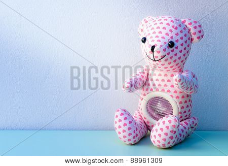 Lovely Bear With Pink Heart Pattern Skin