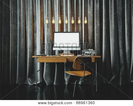 Workspace In The Loft With Black Blinds On The Background. 3D Rendering