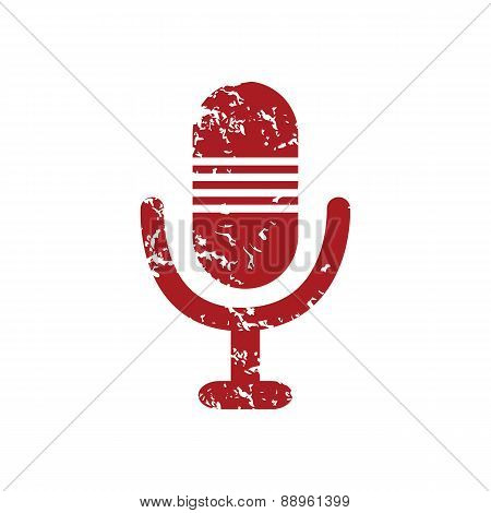 Red grunge microphone logo