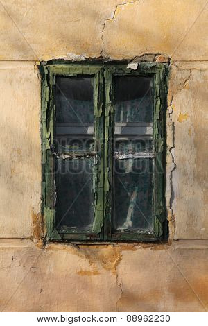 Old window in Mohacs, Hungary.