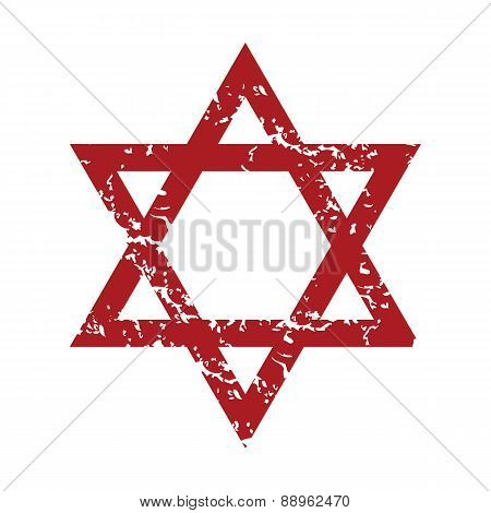 Red grunge Judaism logo