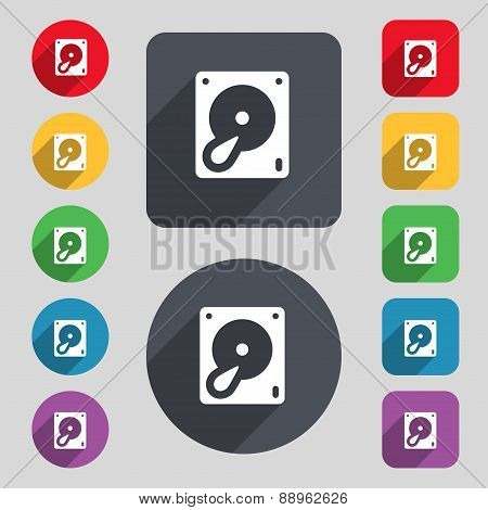 Hard Disk And Database Icon Sign. A Set Of 12 Colored Buttons And A Long Shadow. Flat Design. Vector