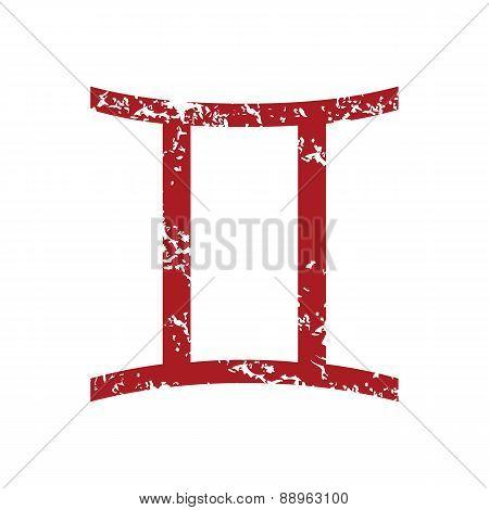 Red grunge Gemini logo