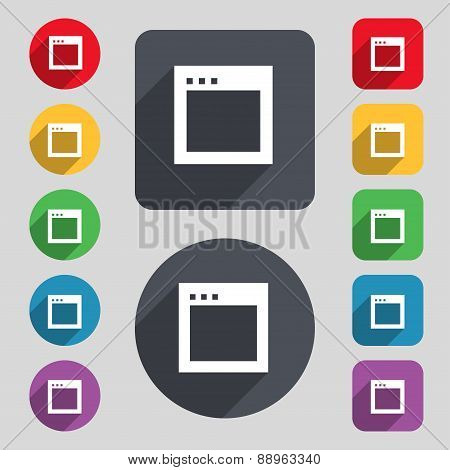 Simple Browser Window Icon Sign. A Set Of 12 Colored Buttons And A Long Shadow. Flat Design. Vector