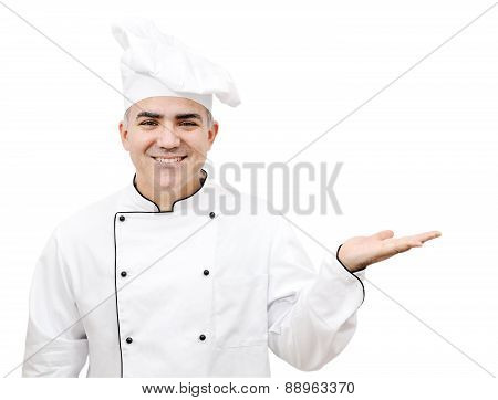Chef Holding Up Hand Palm Isolated On White Background3