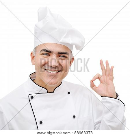 Chef Showing Ok Sign Isolated On White Background