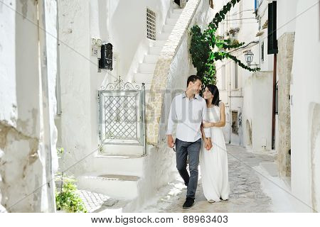 Beautiful Couple In Honeymoon In Sperlonga, Italy