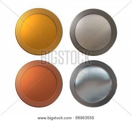 Medals Gold Silver Bronze Platinum White