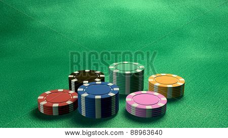 Casino Chips Low Angle