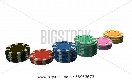 Casino Chips Of Bet Side Angle White Background