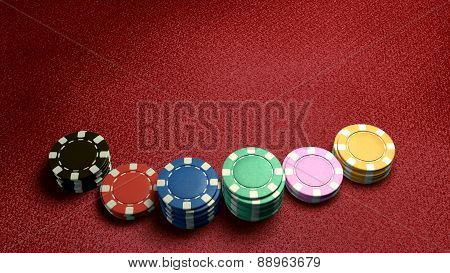 Casino Chips Of Bet Red Table