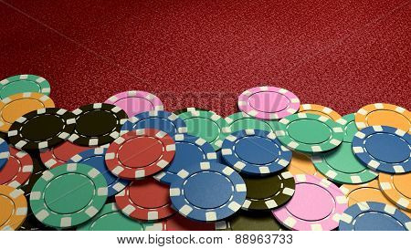 Casino Chips Show Hand Red Table