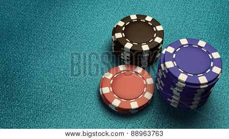 Focus Of Casino Chips Blue Table