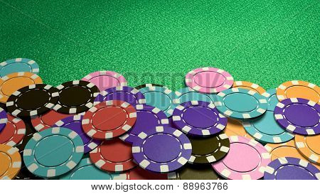 Casino Colorful Chips Show Hand Front Table